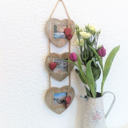 50% off Rustic Natural Wood Triple Heart Photo Frame with red hearts